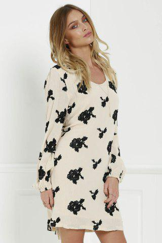 Cheap Long Sleeve Floral Embroidered Tunic Dress - S BLACK Mobile