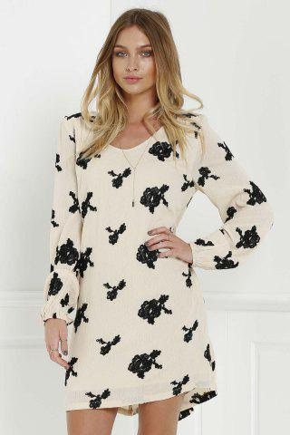 Unique Long Sleeve Floral Embroidered Tunic Dress - L BLACK Mobile