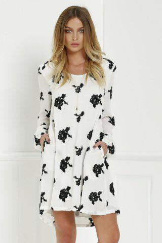 Discount Long Sleeve Floral Embroidered Tunic Dress - S WHITE Mobile
