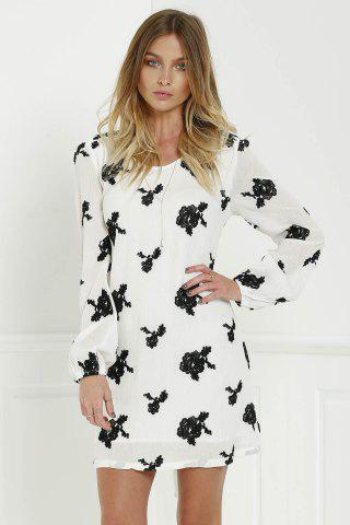 Sale Long Sleeve Floral Embroidered Tunic Dress - S WHITE Mobile