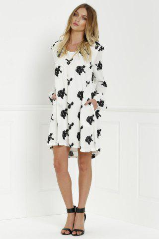 Fancy Long Sleeve Floral Embroidered Tunic Dress - S WHITE Mobile