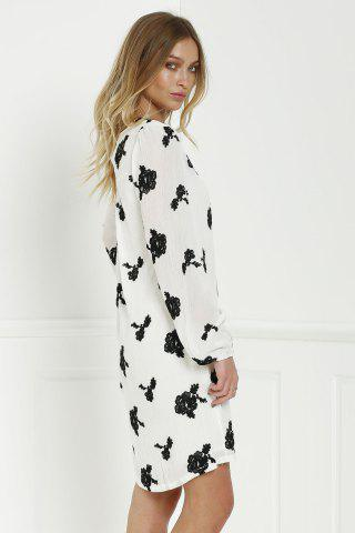 Women's Long Sleeve Floral Embroidered Tunic Dress - S WHITE Mobile
