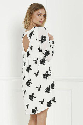 Affordable Long Sleeve Floral Embroidered Tunic Dress - S WHITE Mobile