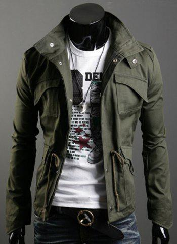 Drawstring Stand Collar Long Sleeve Pockets Design Men's Jacket