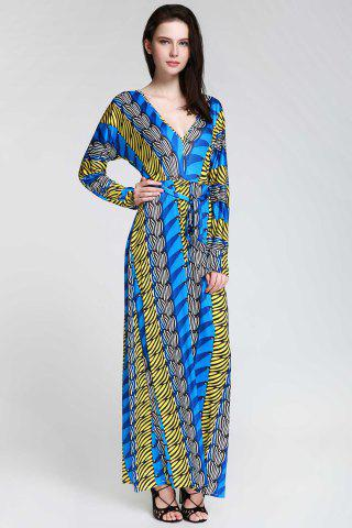Latest Plunge Long Sleeve Printed Maxi Dress SAPPHIRE BLUE XL