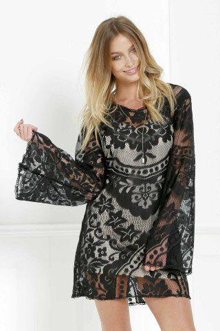 Online Mini Long Sleeve Lace Sheer Casual Dress - S BLACK Mobile