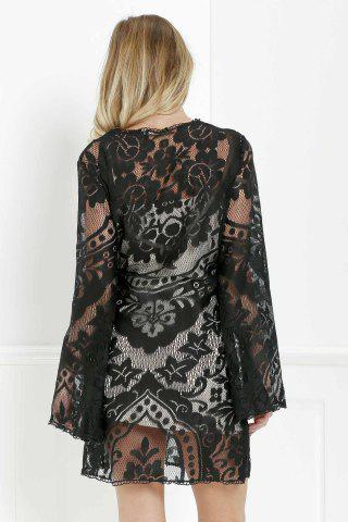 Hot Mini Long Sleeve Lace Sheer Casual Dress - S BLACK Mobile