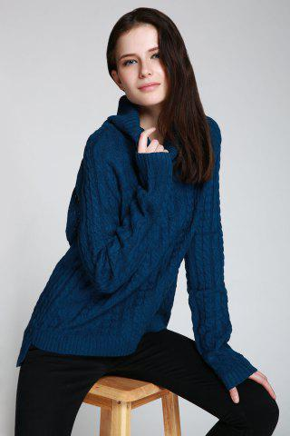 Sale Cable Open Back Sweater - ONE SIZE(FIT SIZE XS TO M) DEEP BLUE Mobile