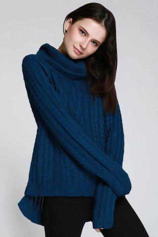 Trendy Cable Open Back Sweater - ONE SIZE(FIT SIZE XS TO M) DEEP BLUE Mobile