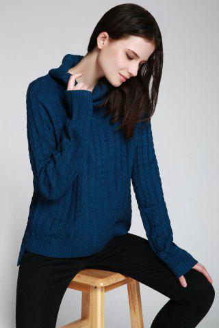 Cheap Cable Open Back Sweater - ONE SIZE(FIT SIZE XS TO M) DEEP BLUE Mobile