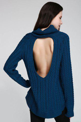 Outfits Cable Open Back Sweater - ONE SIZE(FIT SIZE XS TO M) DEEP BLUE Mobile