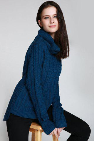 Chic Cable Open Back Sweater - ONE SIZE(FIT SIZE XS TO M) DEEP BLUE Mobile