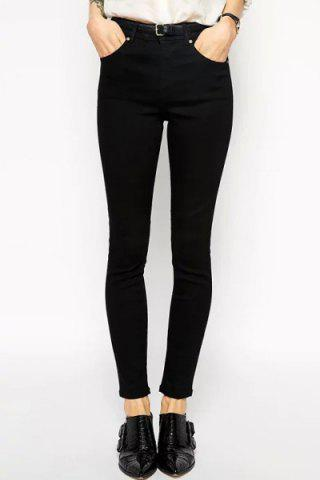 Stylish High Waisted Slimming Solid Color Women's Pants - Black - M
