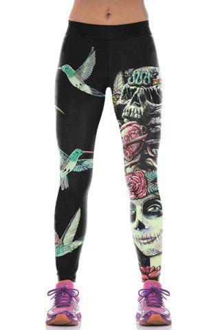 Outfits Stylish Bird Print Narrow Feet Women's Leggings - ONE SIZE(FIT SIZE XS TO M) BLACK Mobile