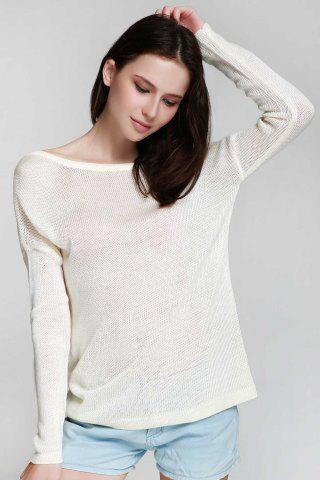 Fashionable One Shoulder White Backless Long Sleeve Sweater For Women