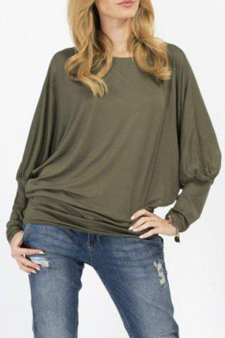 Stylish Scoop Neck Long Sleeves Pure Color Loose Women's T-Shirt - Army Green - Xl