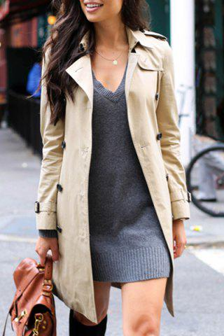 Affordable Stylish Turn Down Collar Long Sleeve Khaki Women's Trench Coat - XL LIGHT KHAKI Mobile