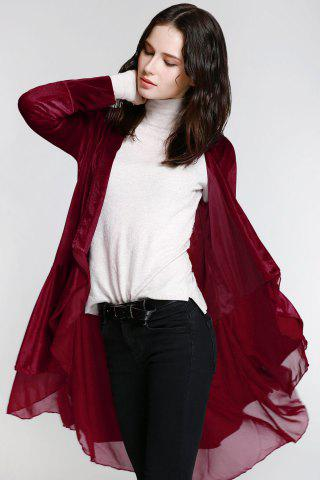 Unique Stylish Long Sleeve Swingy Velvet Women's Coat