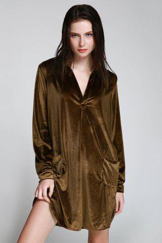 Hot Stylish Long Sleeve Cozy Velvet Women's Shirt Dress