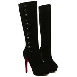 Sexy Buttons and Suede Design Women's High Heel Boots - BLACK