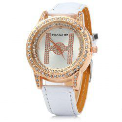 NIXIZHE Diamond Women Quartz Watch with Letter H Pattern -