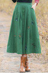 Vintage Style Flower Embroidery Buttoned A Line Skirt -