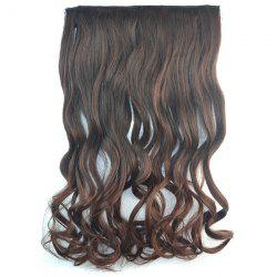 Fashion Long Brown Ombre Graceful Shaggy Curly Synthetic Clip In Hair Extension For Women -