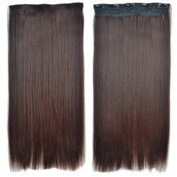 Attractive Brown Gradient Synthetic Fashion Long Glossy Straight Clip-In Hair Extension For Women -
