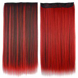 Attractive Red Highlight Clip-In Synthetic Fashion Long Silky Straight Hair Extension For Women -