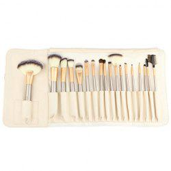 18 Pcs Professional PU Brosse Sac crin pinceaux de maquillage Set - Or