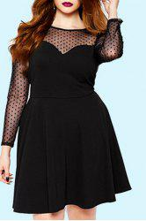 Chic Polka Dot Gauze Long Sleeve Black Plus Size Dress For Women