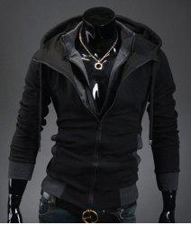 Casual Slim Fit Long Sleeve Solid Color Hooded Zipper Coat For Men -