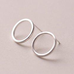 Hollowed Round Stud Earrings - SILVER