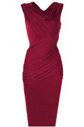 Cowl Neck Sleeveless Draped Midi Bodycon Dress - WINE RED