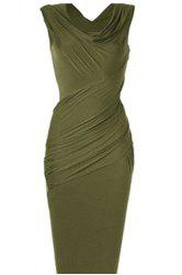 Cowl Neck Sleeveless Draped Midi Bodycon Dress