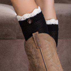 Pair of Chic Wavy Edge and Button Embellished Knitted Boot Cuffs For Women - BLACK