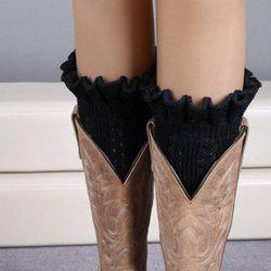 Pair of Chic Flouncing Hollow Out Weaving Knitted Leg Warmers For Women - BLACK