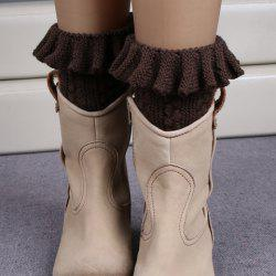 Pair of Chic Flouncing Hollow Out Weaving Knitted Leg Warmers For Women
