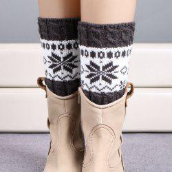 Pair of Chic Christmas Snowflake Pattern Knitted Boot Cuffs For Women - DEEP GRAY