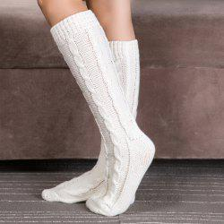 Pair of Chic Solid Color Hemp Flowers Patterned Knitted Stockings For Women - WHITE
