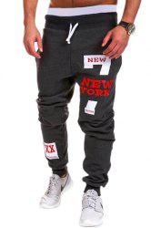 Lace-Up Letters and Number Print Beam Feet Men's Pants - DEEP GRAY