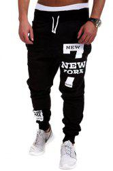 Lace-Up Letters and Number Print Beam Feet Men's Pants - BLACK M