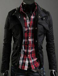 Drawstring Stand Collar Long Sleeve Pockets Design Men's Jacket - BLACK