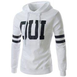 Stripe Letters Print Hooded Long Sleeve Men's Hoodie