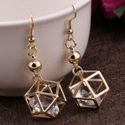 Pair of Vintage Rhinestone Polygon Hollow Out Earrings For Women