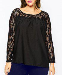 Stylish Scoop Neck Long Sleeve Hollow Out Plus Size Women's Blouse