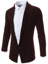 Turn-Down Collar One Button Design Long Sleeve Men's Cardigan - COFFEE