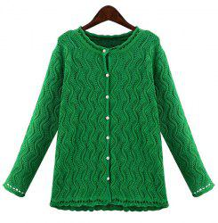 Stylish Jewel Neck Long Sleeve Solid Color Wave Cardigan For Women
