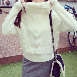 Casual Turtleneck Loose-Fitting Long Sleeves Solid Color Sweater For Women