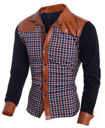 Color Block PU Leather Spliced Plaid Print Shirt Collar Long Sleeves Men's Slim Fit Flocky Shirt